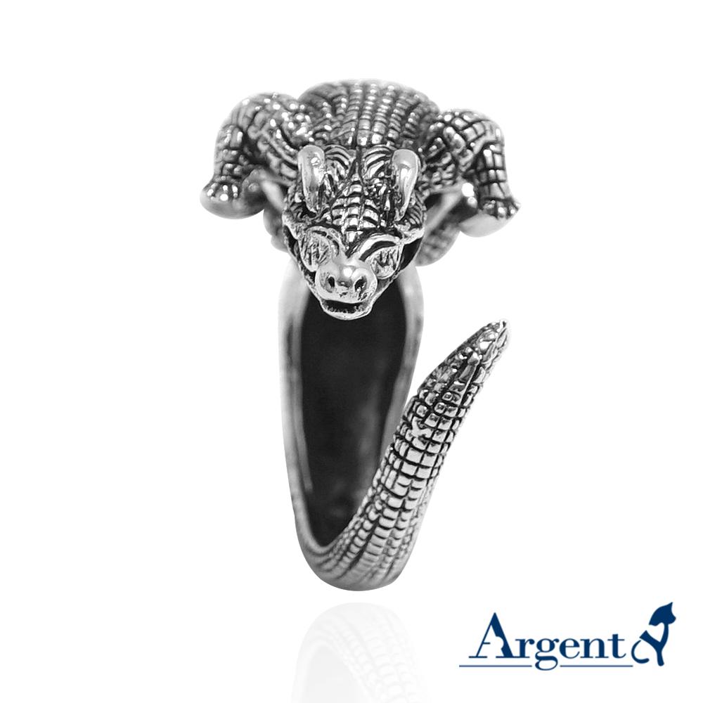 小銀鱷動物造型雕刻純銀戒指|戒指推薦