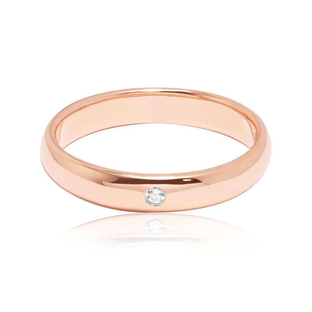 「經典(電鍍款)(3mm)」(玫瑰金)外鑲鑽純銀戒|純銀單戒推薦