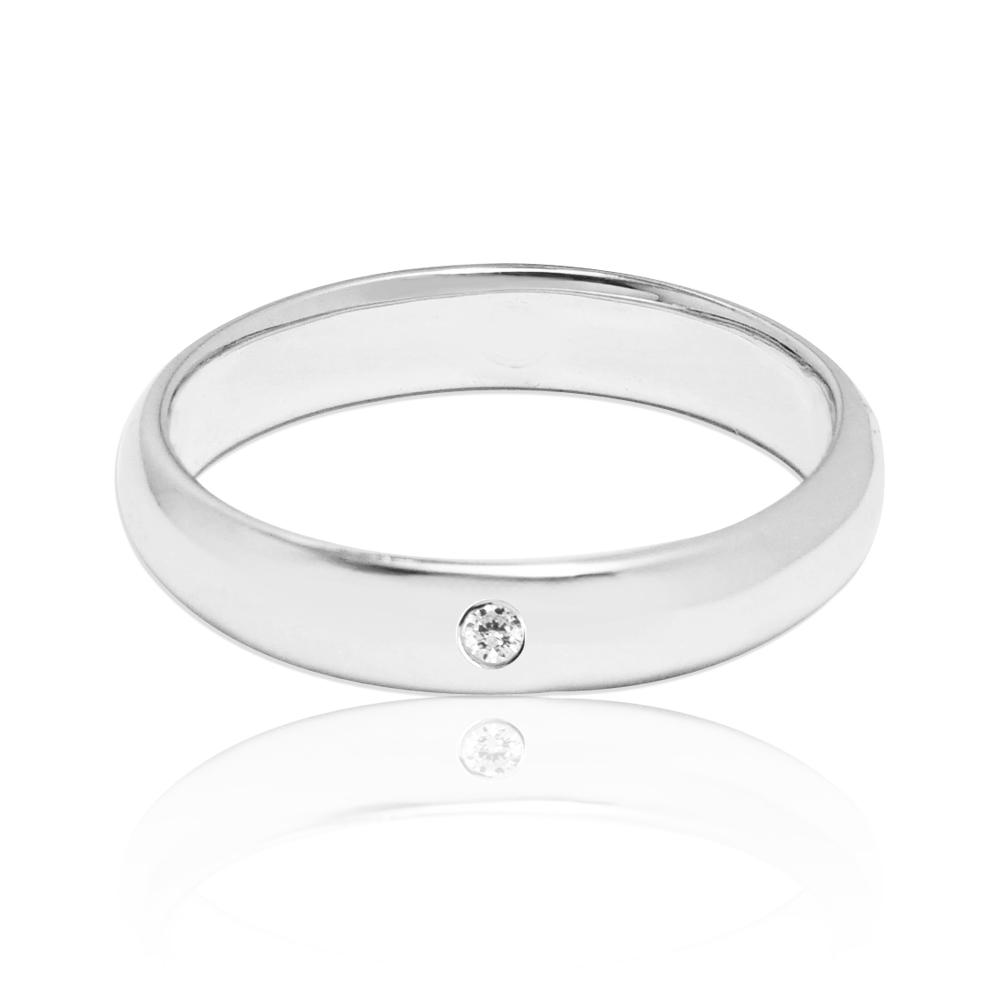 「經典(電鍍款)(4mm)」(白K金)外鑲鑽純銀戒|純銀單戒推薦