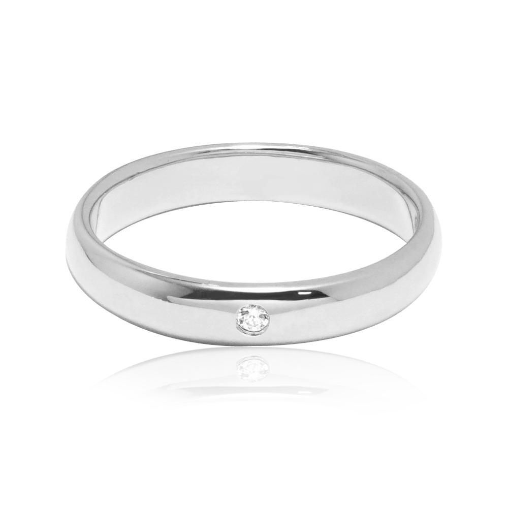 「經典(電鍍款)(3mm)」(白K金)外鑲鑽純銀戒|純銀單戒推薦