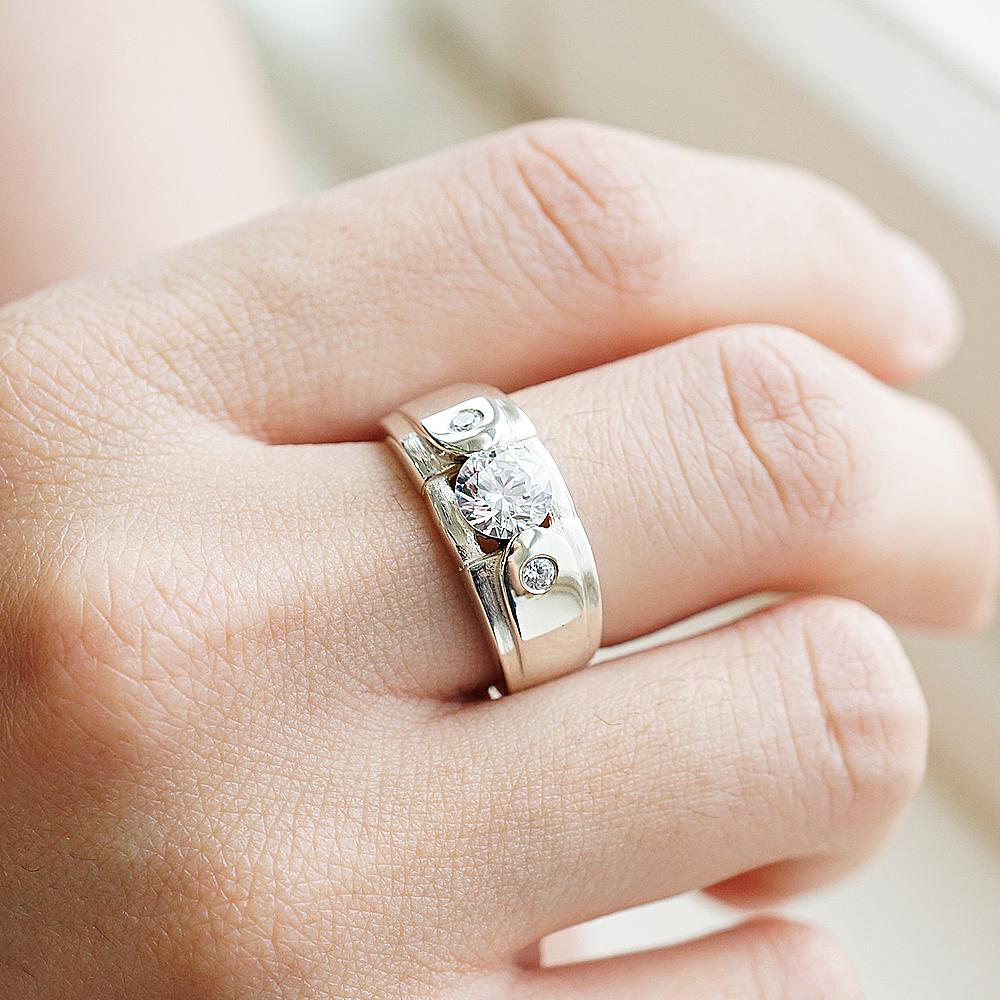 「永固愛情(寬)」鑽鑲嵌純銀戒指|戒指推薦