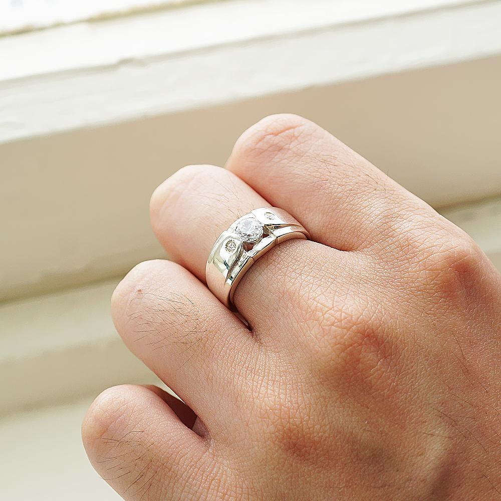 「永固愛情(細)」鑽鑲嵌純銀戒指|戒指推薦