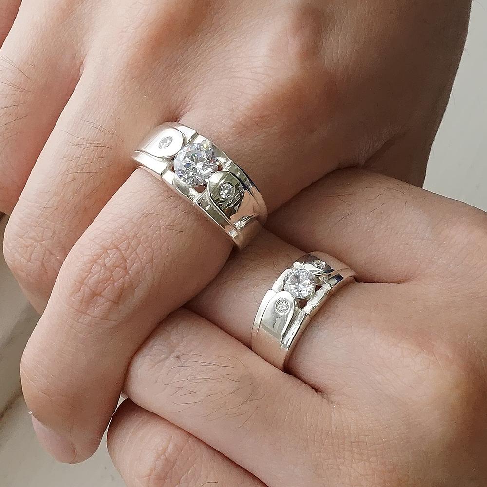 「永固愛情(寬+細)」鑽鑲嵌純銀戒指|戒指推薦