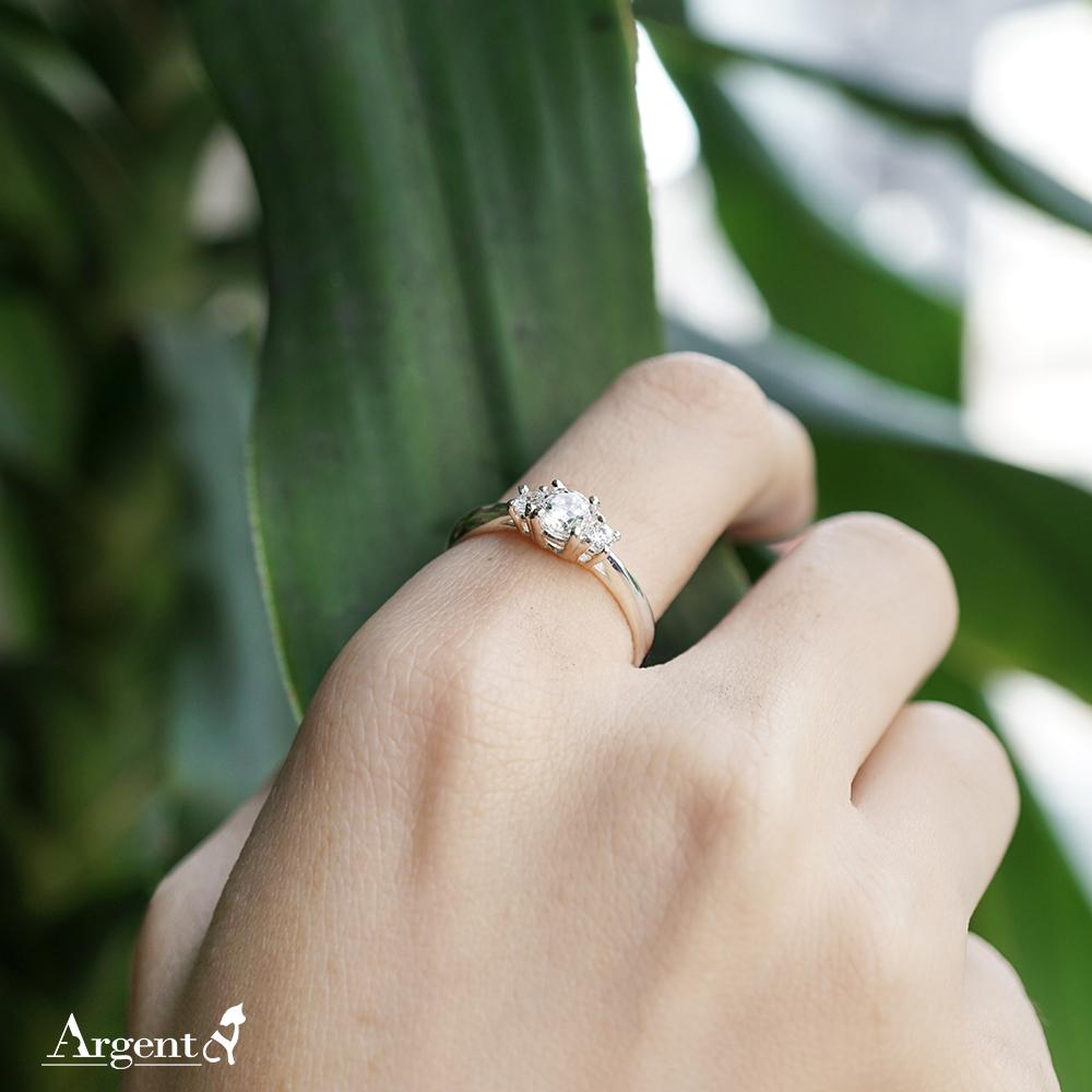 「閃耀(小鑽)」造型鑽鑲嵌純銀戒指|戒指推薦