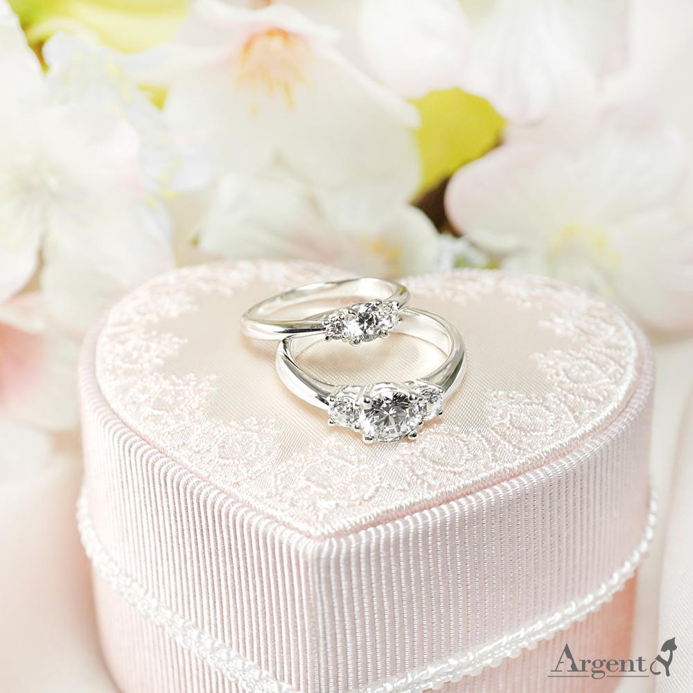 「閃耀(大鑽+小鑽)」造型鑽鑲嵌純銀戒指|戒指推薦