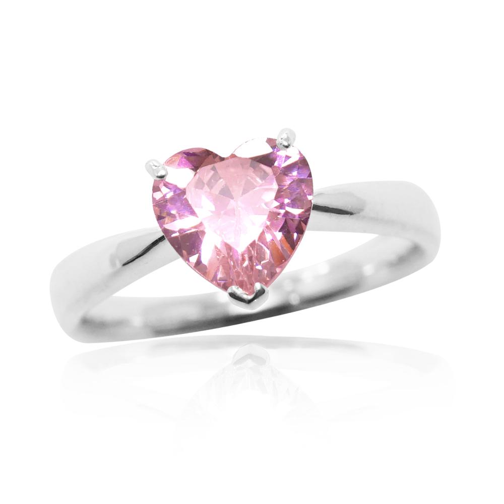 「璀璨的愛-粉鑽」純銀戒指