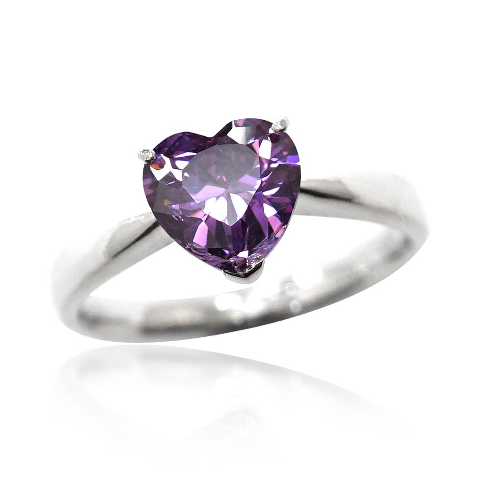 「璀璨的愛-紫鑽」純銀戒指
