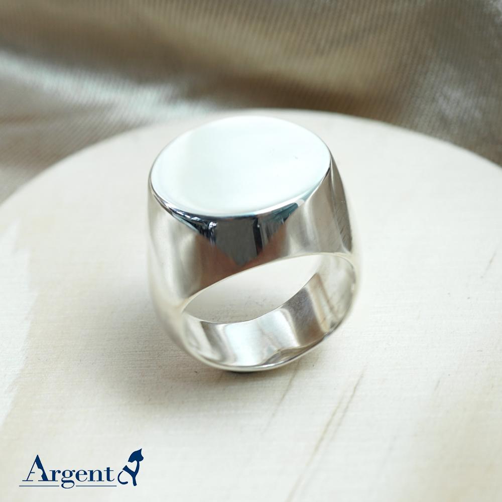 印章戒(圓形)(無刻字)純銀戒指