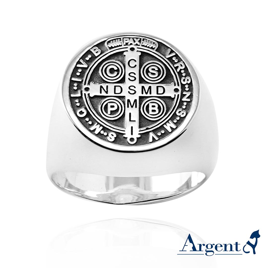 印章戒(圓形)(單面刻圖)純銀戒指