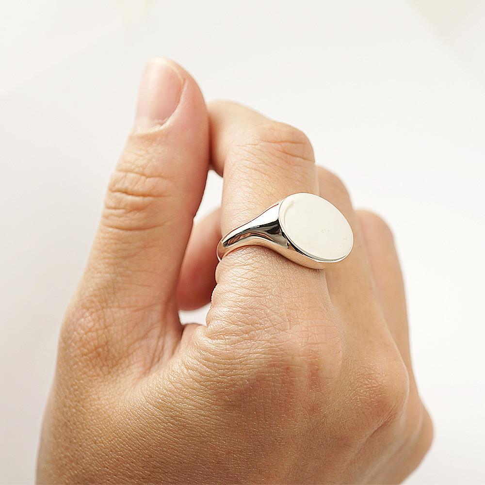 印章戒(橢圓形.橫式.細版)(無刻字)純銀戒指