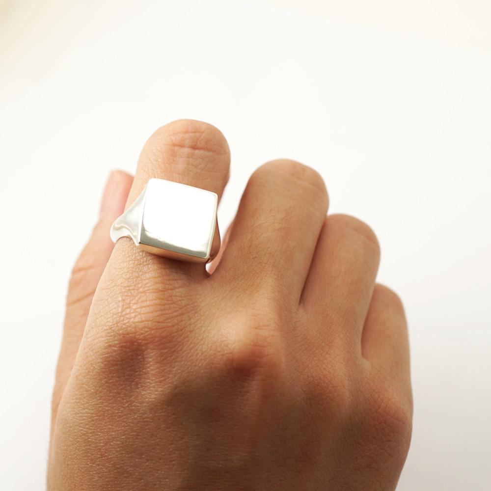 印章戒(方形.細版)(無刻字)純銀戒指