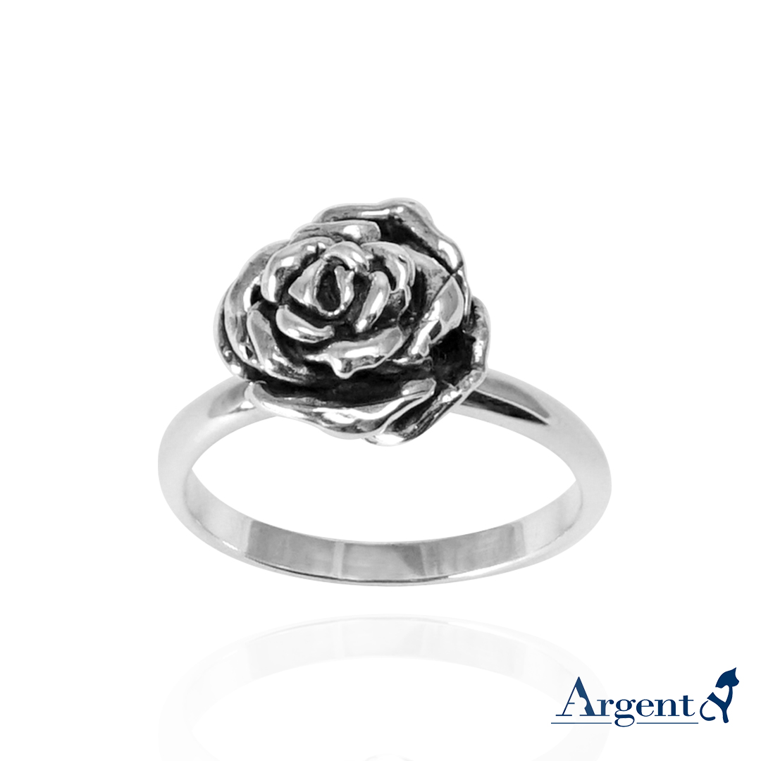 飽滿玫瑰純銀戒指