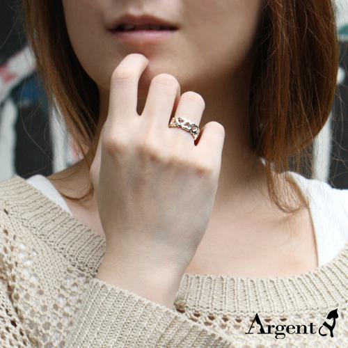 心連心簍空雕刻造型純銀戒指|戒指推薦