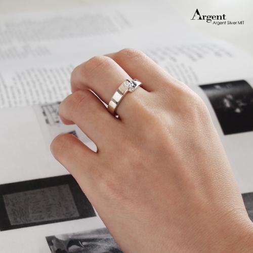 「承諾」鑲鑽造型設計純銀戒指|戒指推薦