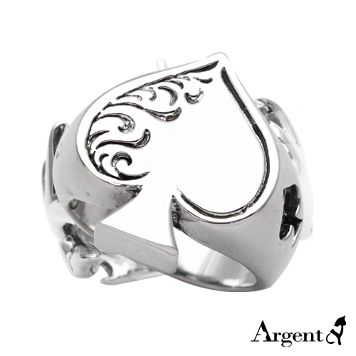 黑桃心寬版雕刻造型純銀戒指|戒指推薦