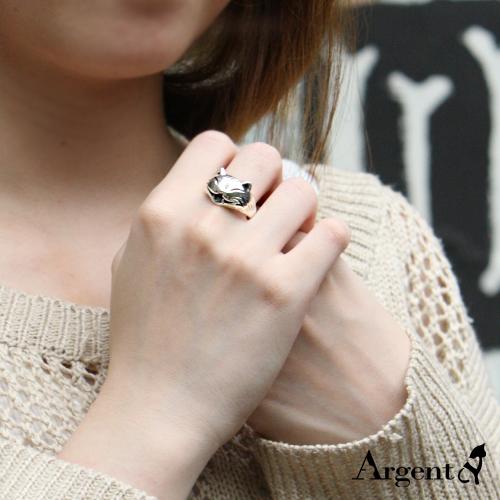 開心貓動物造型雕刻純銀戒指|戒指推薦