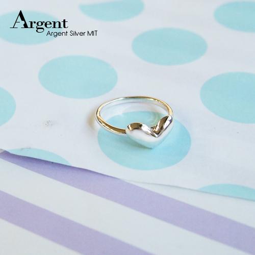 「桃心」簡約鏡面造型純銀戒指|戒指推薦