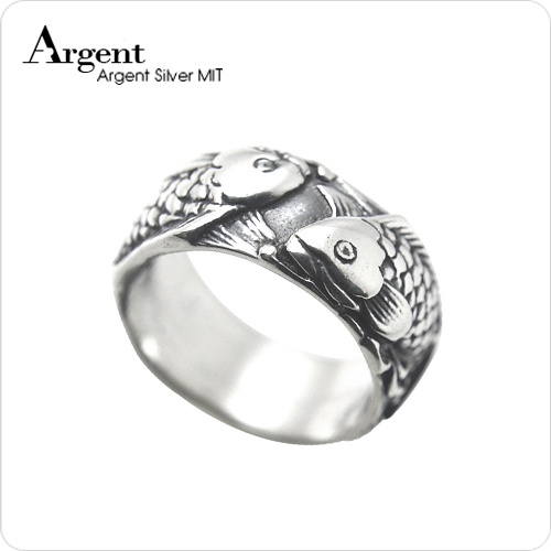 雙魚情深動物造型雕刻純銀戒指|戒指推薦
