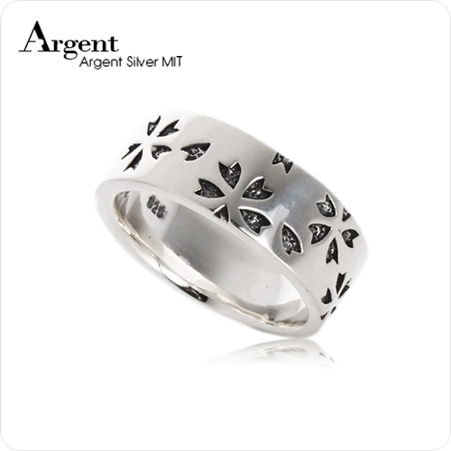 繽紛櫻花造型雕刻純銀戒指|戒指推薦