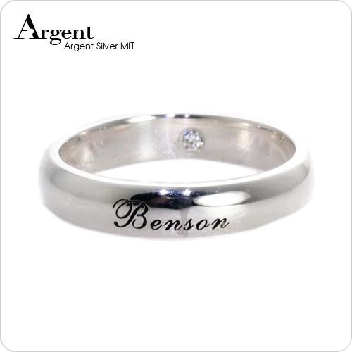 4mm外圍刻字藏鑽純銀戒指|訂做戒指客製化訂製