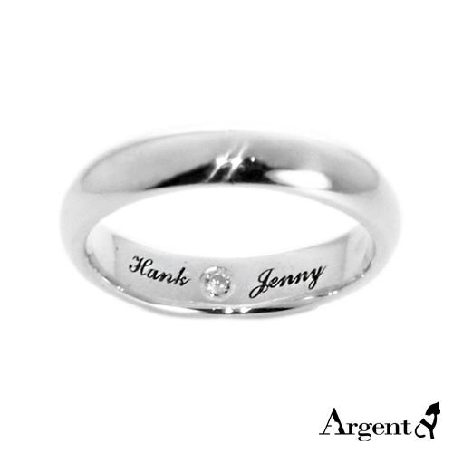 3mm內圍刻字藏鑽純銀戒指|訂做戒指客製化訂製
