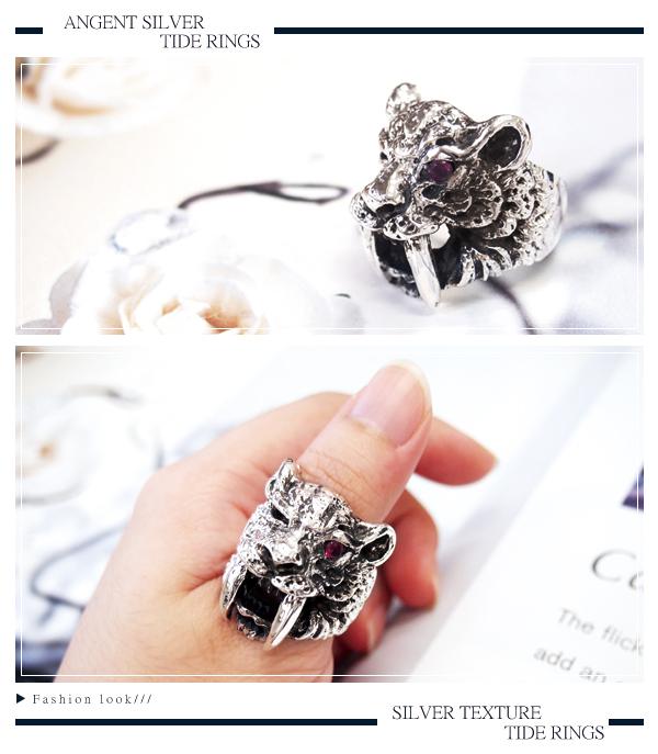 劍齒虎動物造型雕刻純銀戒指|戒指推薦