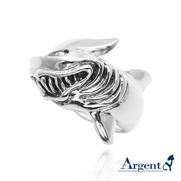 「惡鯊」動物造型雕刻純銀戒指 戒指推薦