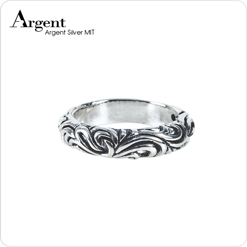 4.5mm「雲紋」雕刻造型純銀戒指|戒指推薦