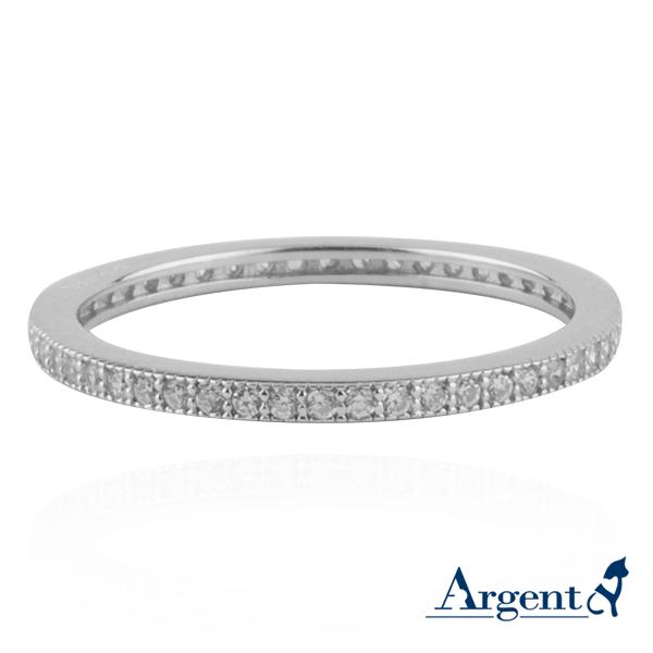 安爵銀飾-環鑽戒指-白K金