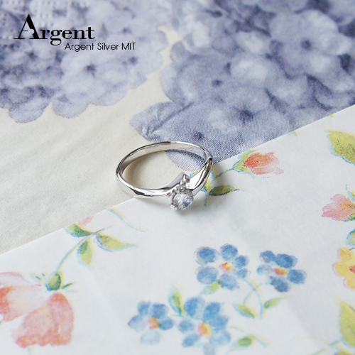 「約定」造型白鑽鑲嵌純銀戒指|戒指推薦