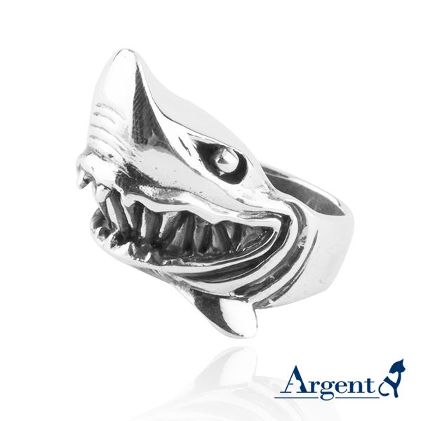 「銀鯊」動物造型雕刻純銀戒指|戒指推薦