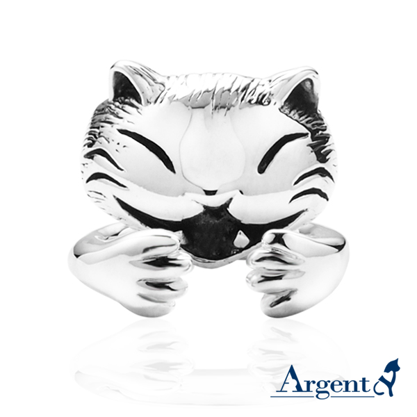 Happy cat + cat claw animal shape sterling silver ring   ring recommended