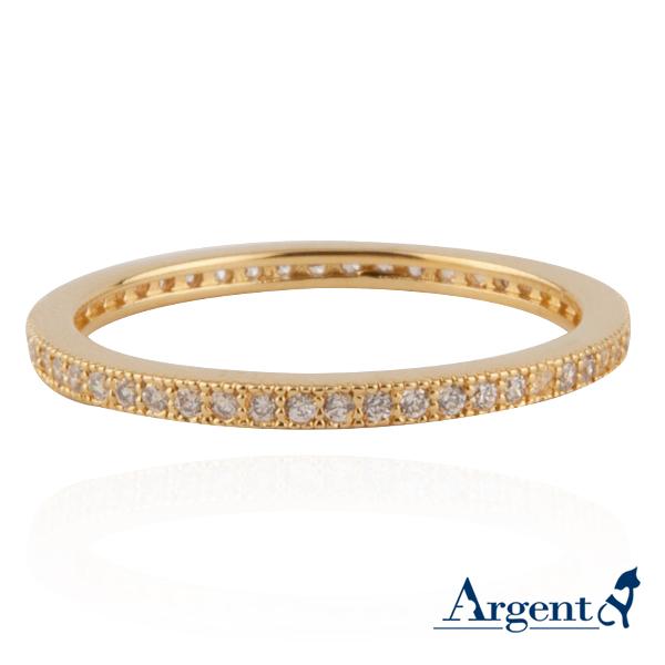 安爵銀飾-環鑽戒指-黃K金
