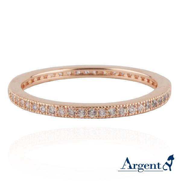 安爵銀飾-環鑽戒指-玫瑰金