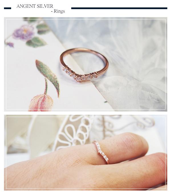 安爵銀飾-「深愛」-玫瑰金-純銀戒指