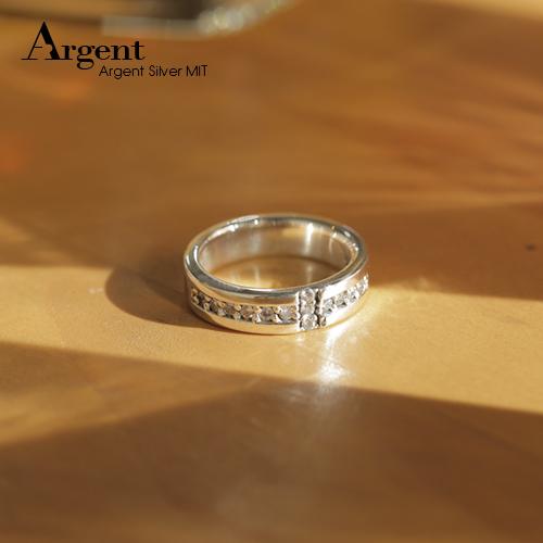 白鑽十字相戀造型純銀戒指|戒指推薦