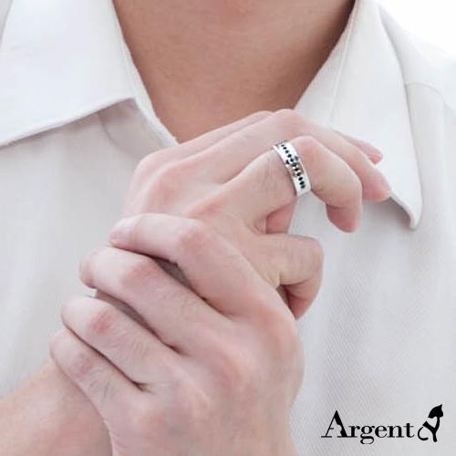 黑鑽十字相戀造型純銀戒指|戒指推薦