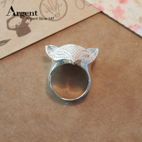 「銀狐」動物造型雕刻純銀戒指|戒指推薦