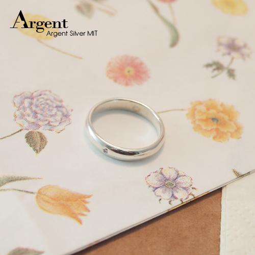 經典簡約鑲鑽素面純銀戒指|戒指推薦