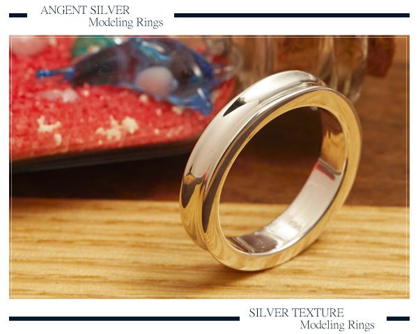弧形(4mm)純銀戒指