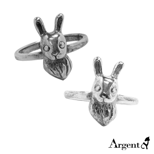 Eared rabbit animal sculpture silver ring | Recommended ring
