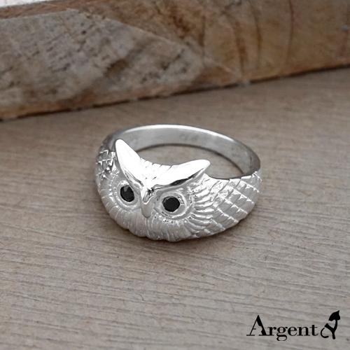 福氣貓頭鷹動物造型雕刻純銀戒指 戒指推薦