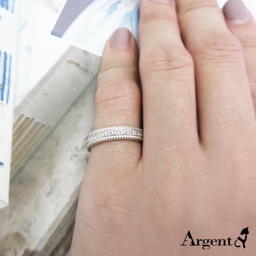 安爵銀飾-晶鑽滾珠白鑽造型純銀戒指
