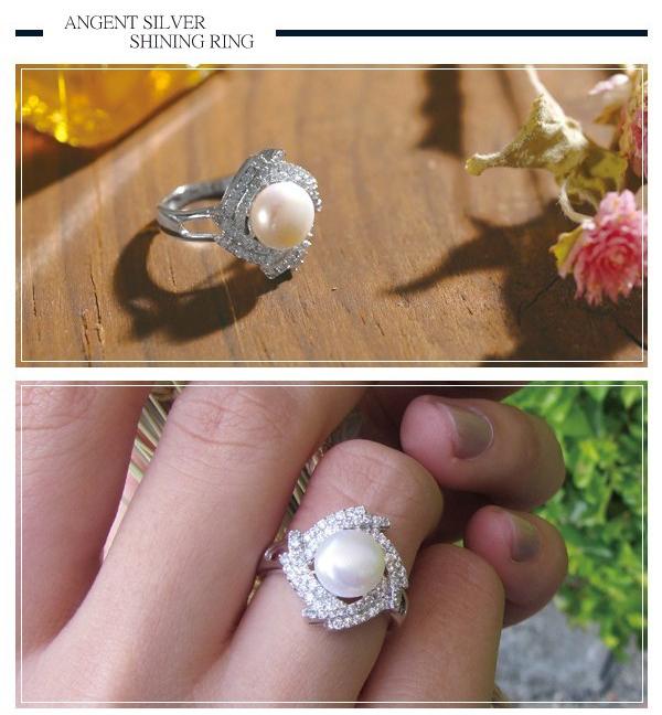 「菱珠」微鑲鋯石造型珍珠純銀戒指|戒指推薦