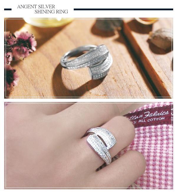 「鑽擁」微鑲鋯石造型純銀戒指|戒指推薦