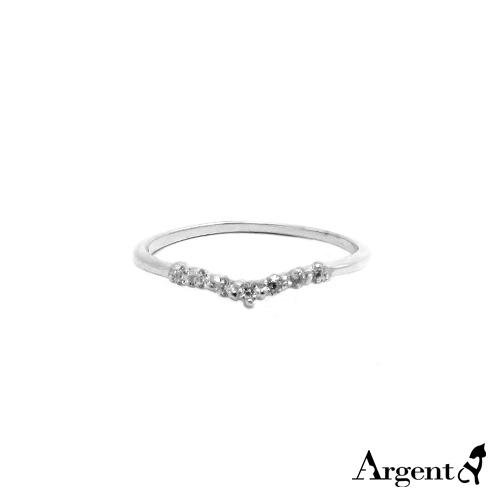 安爵銀飾-「深愛」閃亮深V純銀戒指