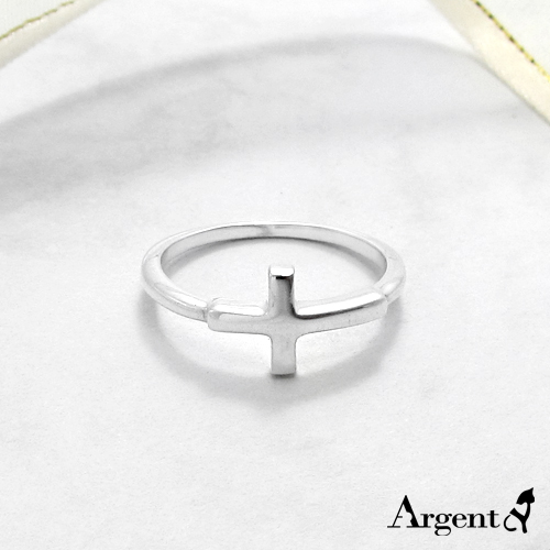 「橫十字」造型純銀戒指|925銀飾戒指推薦