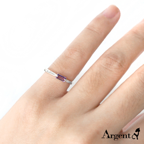 Amethyst square diamond amethyst inlaid sterling silver ring | ring recommended