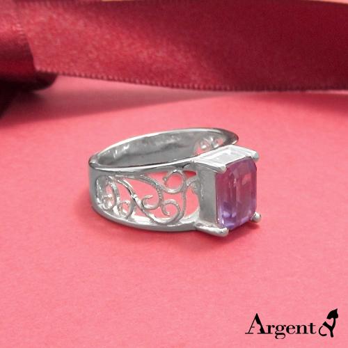 方晶花漾紫水晶雕刻純銀戒指|戒指推薦