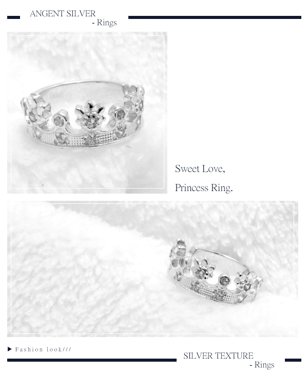 「公主」造型鑲鑽純銀戒指|戒指推薦